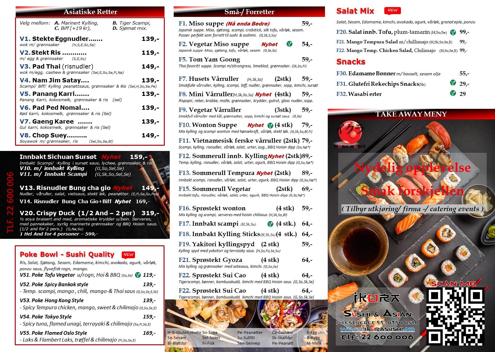 Ikura sushi Meny 1