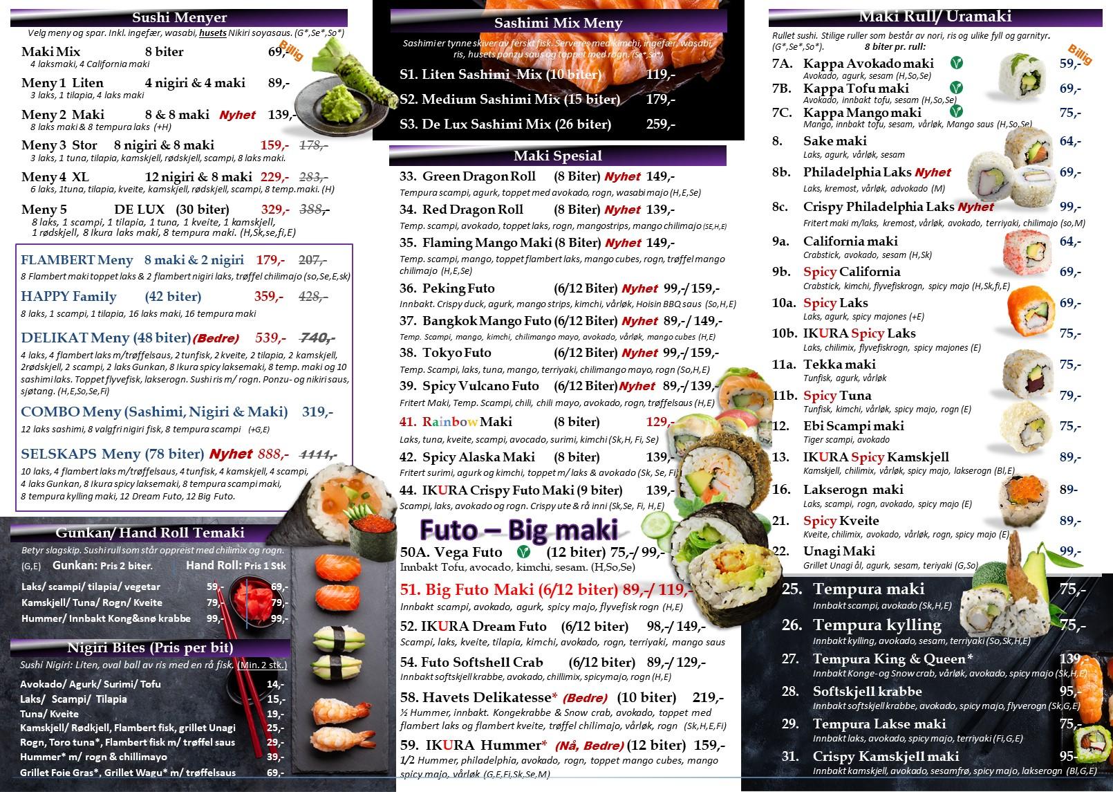 Ikura sushi Meny 2